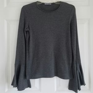 Zara/ ribbed sweater with bell sleeves
